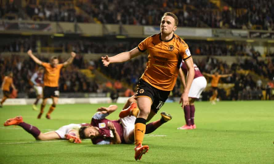 Diogo Jota celebrates after scoring for Wolves against Aston Villa at Molineux.