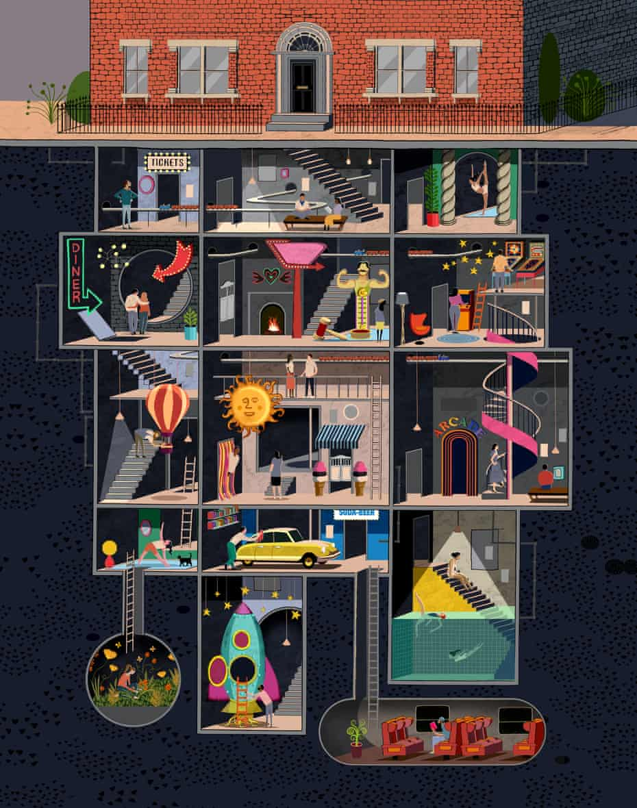 An illustration of a four-storey structure below a house with multiple rooms for different activities