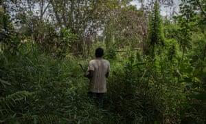 Emmanuel Elong cuts his way through thick jungle
