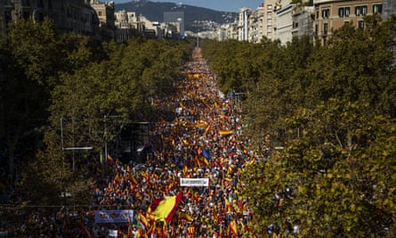 Demonstrators march in support of Catalonia remaining part of Spain, Barcelona, 27 October 2019.