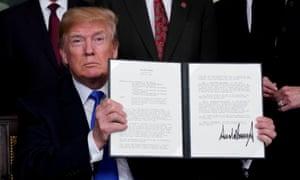 Donald Trump announcing duties on high-tech goods from China