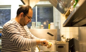 Syrian Chef Mohammed in restaurant kitchen