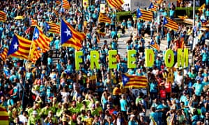 People gather in Barcelona to mark the Catalan national day (Diada)