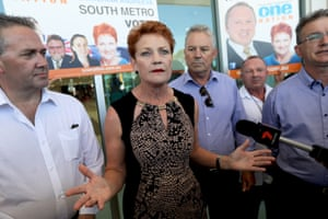 One Nation leader Pauline Hanson holds a press conference in Western Australia on Monday.