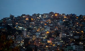 A favela in Rio de Janeiro, Brazil. Militias, which often includes former and serving police officers and firefighters, have taken control of swathes of Rio's western suburbs.