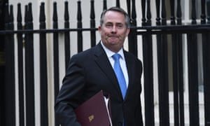 Liam Fox arriving in Downing Street for cabinet this morning.