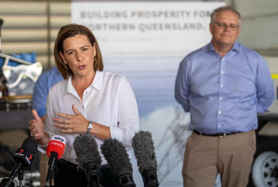 Queensland LNP leader Deb Frecklington campaigning with prime minister Scott Morrison in Townsville on 14 October.