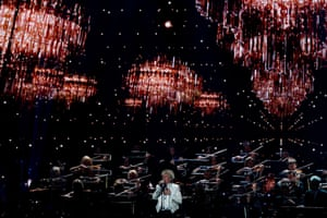 Sir Rod Stewart, 75, performs at the 40th Brit awards show.