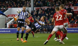 Jordan Rhodes scores his third goal to complete a hat-trick at Nottingham Forest.