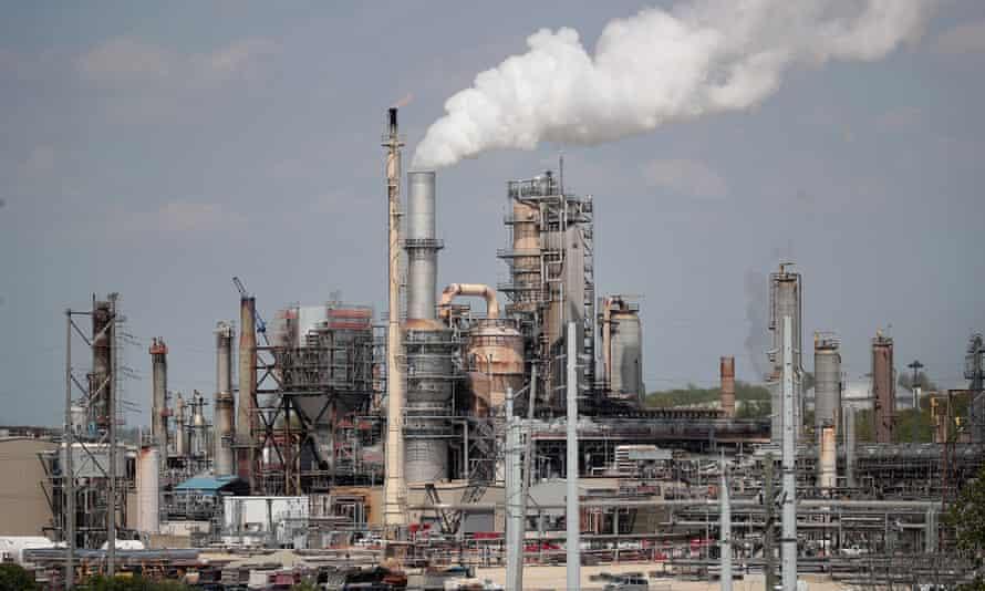 An oil refinery in Lemont, Illinois