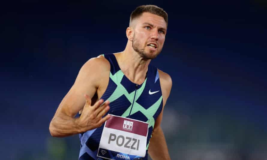 The British hurdler Andrew Pozzi pictured on his way to victory in the 110m hurdles in Rome last September.