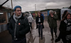 (from left) Jude Law, Tom Odell and Tom Stoppard in Calais's Jungle camp.