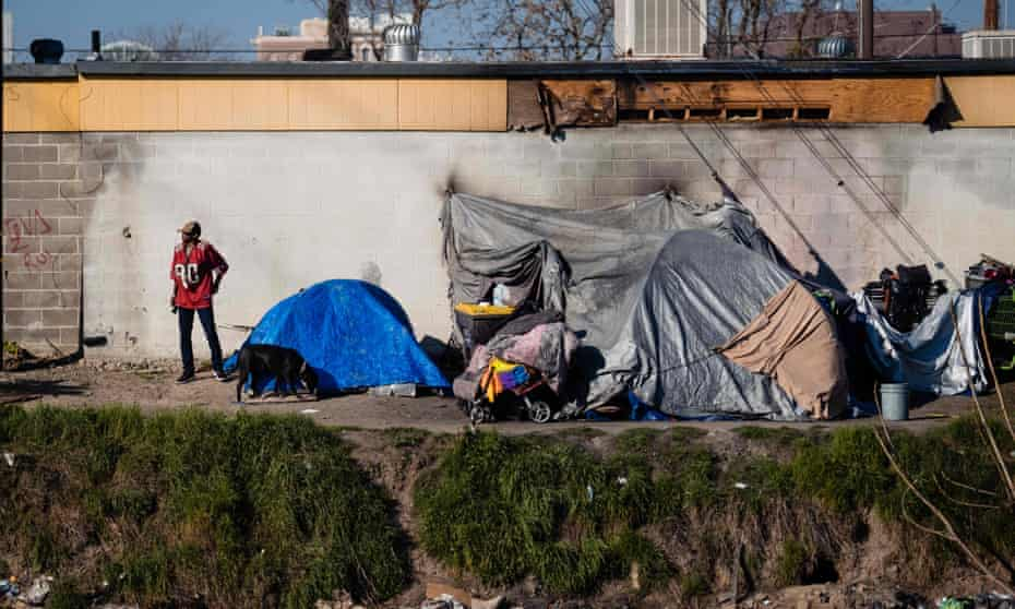 A homeless encampment near a dried up river bed in Stockton, California, on 7 February 2020.