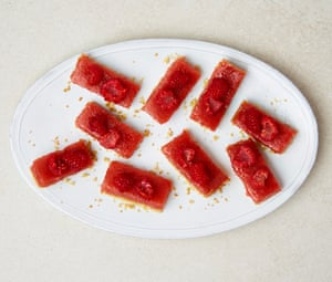 Tamal Ray's raspberry and lime curd bars