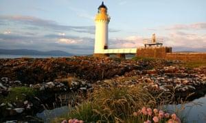 Rubha nan Gal lighthouse cottage and coastal views, Mull.