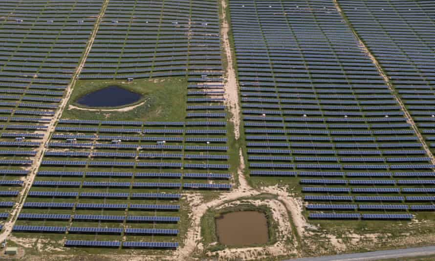 An aerial view of Royalla Solar Farm, 30km south of Canberra