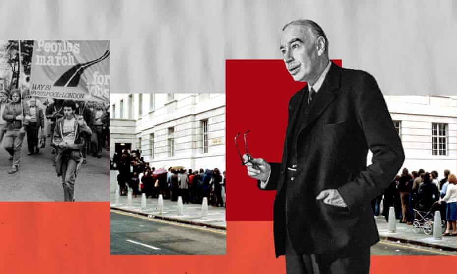 The People's March for Jobs;  people queuing to sign on as unemployed; economist John Maynard Keynes.