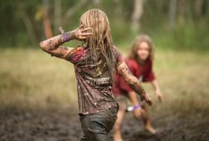 Children having a mud fight in 2008