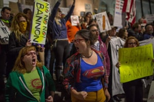 People in Los Angeles, US, protest against the appointment of Stephen Bannon as Donald Trump's chief strategist