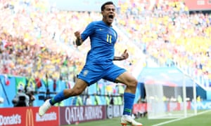 Philippe Coutinho celebrates scoring the opening goal in Brazil's 2-0 win over Costa Rica in St Petersburg.