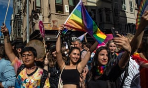 LGBTI demonstrators at a gay pride march in Istanbul, Turkey