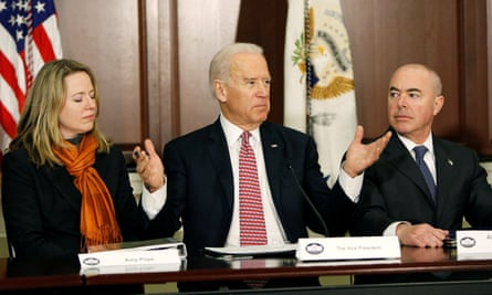 Alejandro Mayorkas, right, with then vice-president Joe Biden and Amy Pope of the National Security Council in this 2015 picture. Mayorkas is the nominee for homeland security chief.