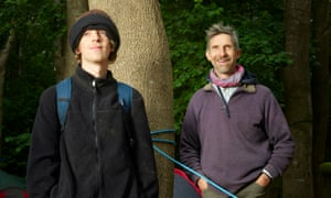 Merry men: Larch (right) Maxey and his son Seb at their Colne Valley HS2 protest camp.