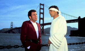 William Shatner as Captain Kirk and Leonard Nimoy as Spock in Star Trek IV: The Voyage Home.