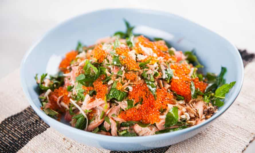 Adam D'Sylva's smoked trout salad with coconut sambal