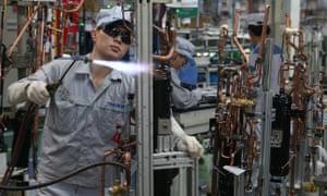 Factory workers in Shanghai