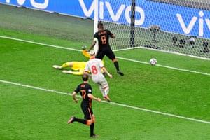 Georginio Wijnaldum of Netherlands scores.