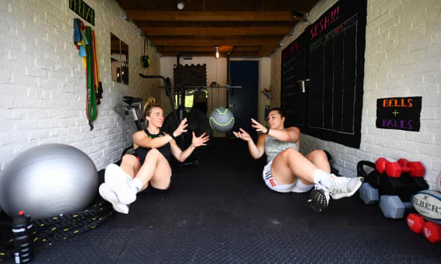 Harlequins' Amy Cokayne and Bethan Dainton try to maintain fitness with the future uncertain for the funding of the women's game.