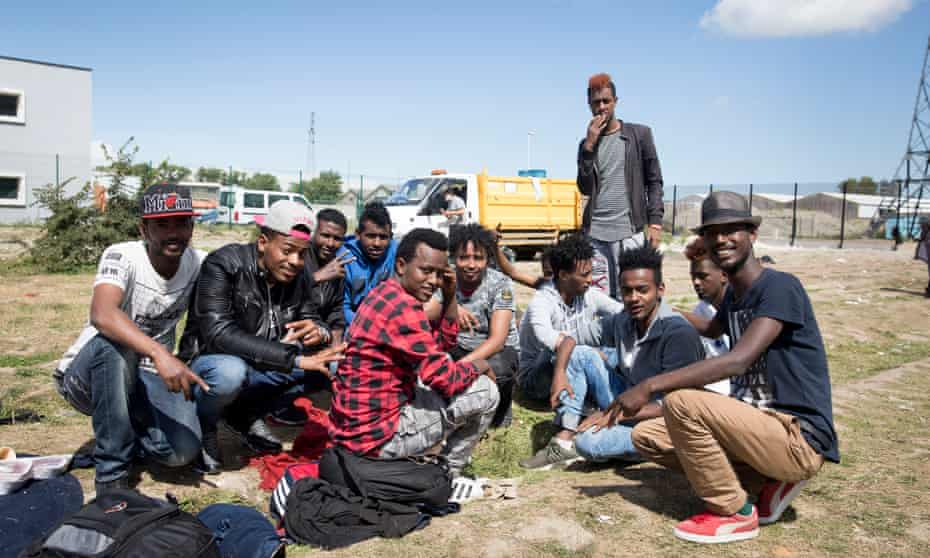 Refugees from Oromia, Ethopia seen in Calais, France.