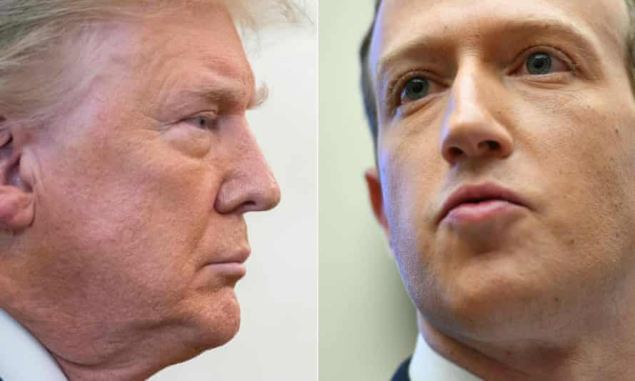 Former US president Donald Trump and Mark Zuckerberg, chairman and CEO of Facebook.