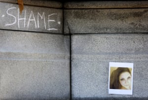 Norfolk, US The word 'shame' is written on a Confederate monument near a photograph of Heather Heyer. The civil rights activist was killed in a car attack in Charlottesville on Saturday