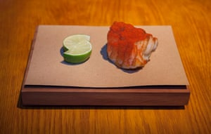 'Food comes on wooden boards, on top of brown parchment paper': the monkfish at Decimo, Kings Cross, London.