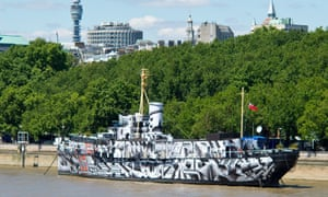 HMS President on the Thames in 2014.
