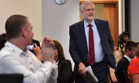 Jeremy Corbyn arrives to give a speech at a British Chambers of Commerce summit.