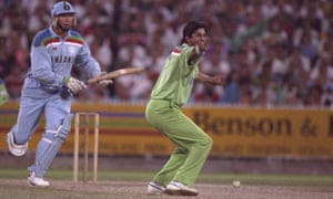 Wasim Akram of Pakistan appeals for the wicket of England's Derek Pringle during the final of the 1992 Cricket World Cup in Melbourne.