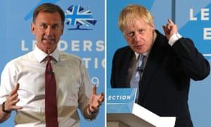 Jeremy Hunt and Boris Johnson .