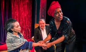 Lachele Carl, David Verrey and Sharlene Whyte in The Trick at Bush theatre, Lond