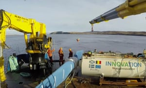 One of the turbines before being lowered beneath the sea.