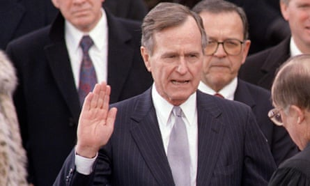 President George HW Bush during his inauguration ceremony, 20 January 1989.