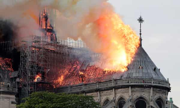 Flames on the roof of Notre-Dame