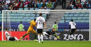 Leno fails to keep out the shot from Australia's Tom Rogic.
