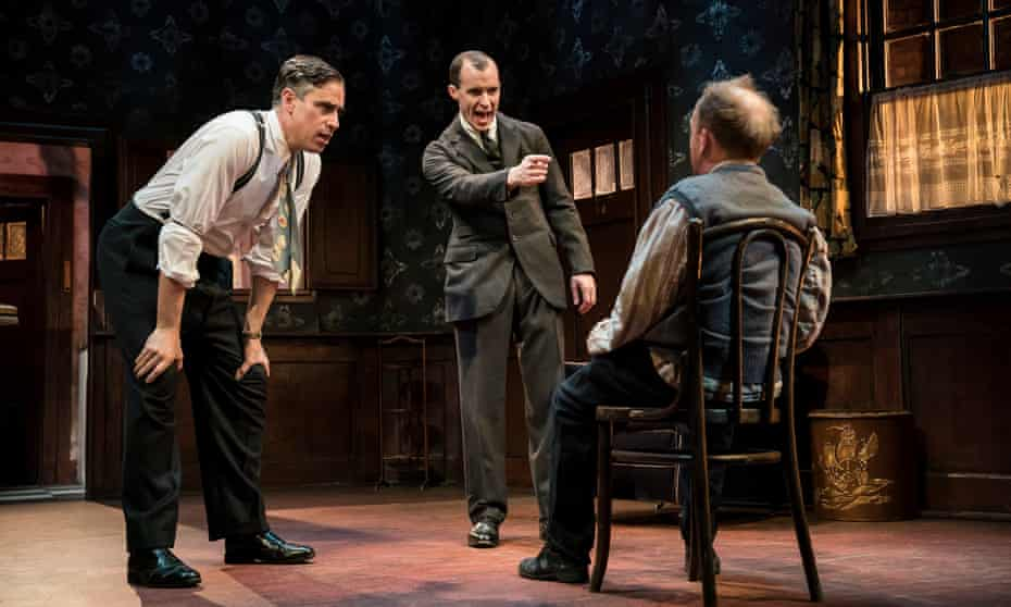 Packed with illuminating detail … from left, Stephen Mangan, Tom Vaughan-Lawlor and Toby Jones in The Birthday Party.