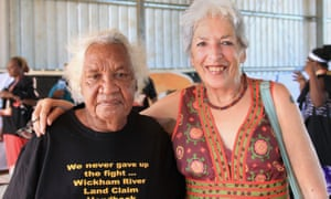 Marie Campbell, a traditional owner of the land in the Wickham river land claim, left, with Deborah Rose, an anthropologist who has worked with the people of Yarralin since the 1980s, on 14 June when more than 50,000ha of land was handed back to traditional owners.