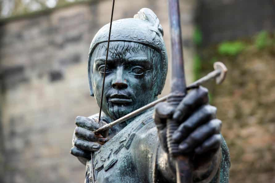 The newly repaired Robin Hood Statue, by the Castle in Nottingham City Centre