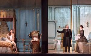 Lisette Oropesa (Lucia), Christopher Maltman (Enrico) and Rachael Lloyd (Alisa) in Lucia di Lammermoor at the Royal Opera House.