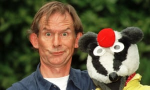 Andy Cunningham as Simon Bodger with his co-star, Badger. They appeared not just on television but regularly at the Glastonbury festival and on stage tours.